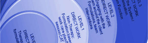 Blue tones cropped image of diagram about different levels of work using the Cognitive Analytic Therapy approach, promoting the 5 session CAT consultancy model
