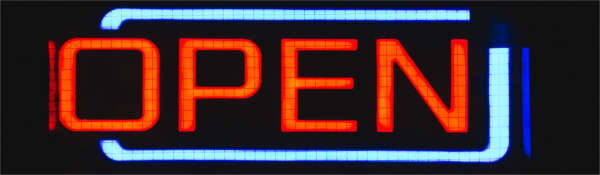Image of neon 'open' sign