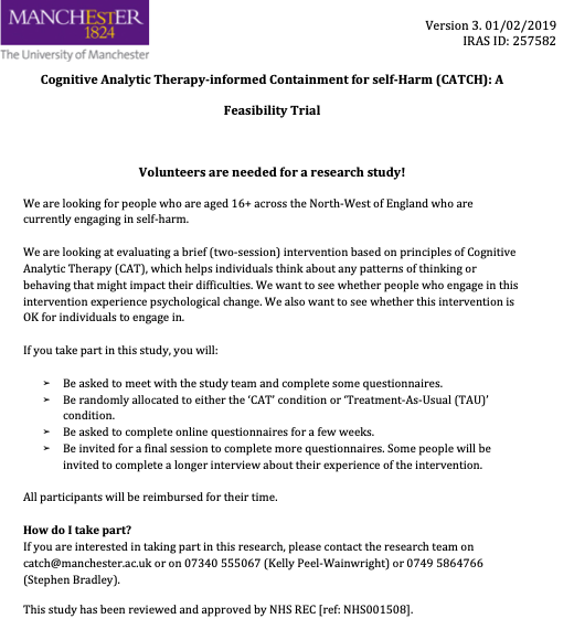 Flyer outlining the Cognitive Analytic Therapy-informed Containment for self-Harm (CATCH): A Feasibility Trial