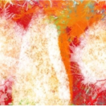 Detail from Synergy 1 - by Shanali Perera - abstract of two white heads in profile with hands pressing together, against abstract background of orange, cerise and green hues