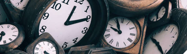 image of many analogue clocks